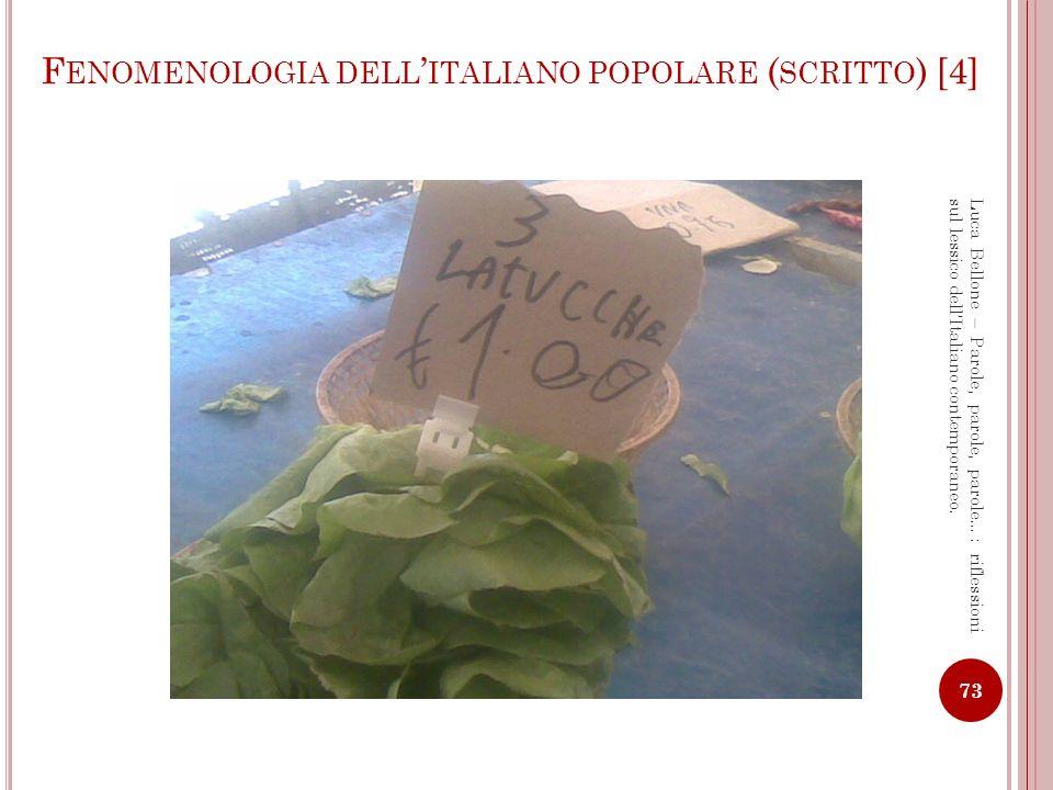 Fenomenologia dell'italiano popolare (scritto) [4]